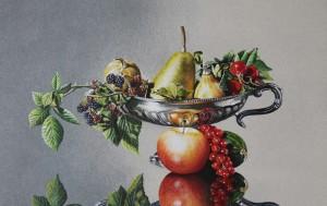 nr 48 Zilveren schaal met herfstfruit