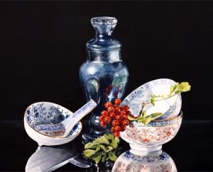 Porselein met blauwe stopfles